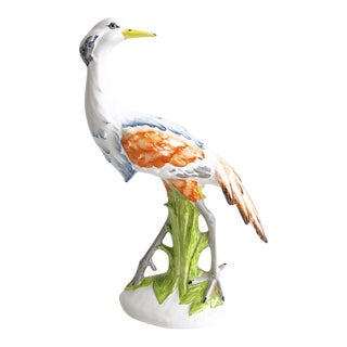 Italian Stamped White & Orange Crane Figure