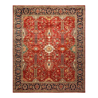 One-Of-A-Kind Oriental Serapi Hand-Knotted Area Rug, Crimson, 8' 1 X 9' 6 For Sale