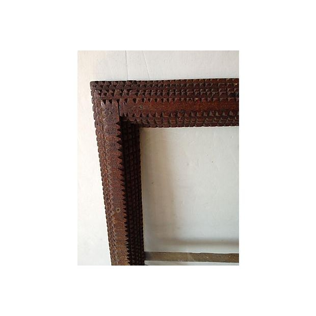 Rustic Antique Tramp Art Window Pane Frame For Sale - Image 3 of 5