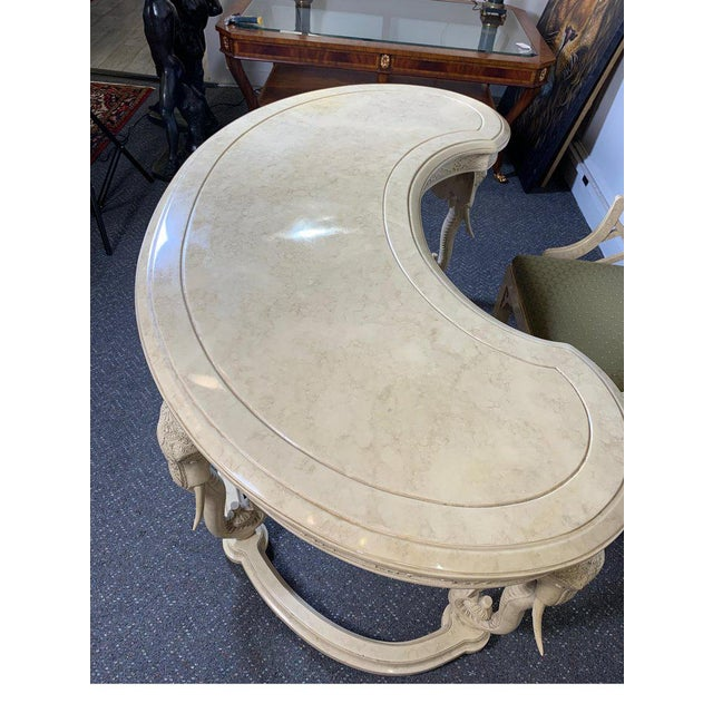 1970s Hollywood Regency Gampel Stoll Kidney Elephant Desk With Chair - 2 Pieces For Sale - Image 11 of 13