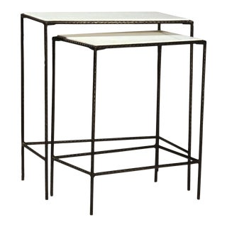 White Marble & Iron Nesting Tables - a Pair For Sale