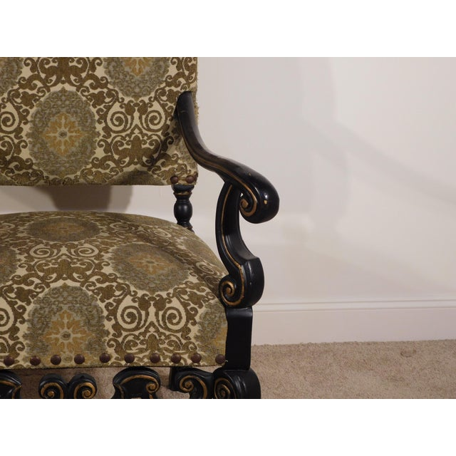 Maitland Smith William & Mary Ebony W Gold Gilt Accents Fireside Arm Chairs - a Pair For Sale - Image 10 of 13