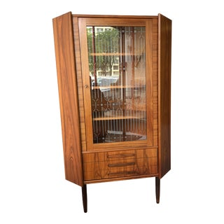 Danish Teak Etched Glass Corner Locking Cabinet For Sale