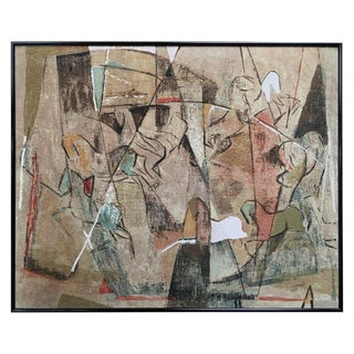 Large Midcentury Abstract Painting of Horses For Sale