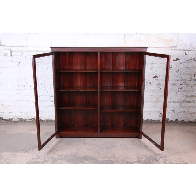 Early 20th Century Antique Mahogany Glass Front Double Bookcase, Circa 1900 For Sale - Image 5 of 12