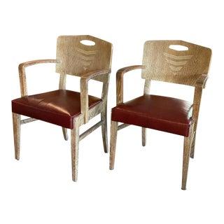 Cerused Oak Art Deco Chairs by Michel Polak, Belgium, 1930s, Pair For Sale