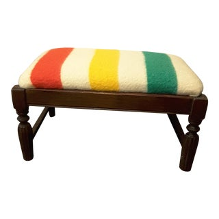 Vintage Wool Blanket Covered Stool