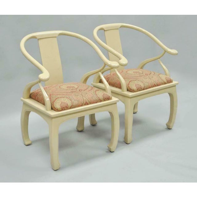 Vintage Cream Lacquered James Mont Style Ming Horseshoe Lounge Chairs - A Pair For Sale - Image 9 of 10