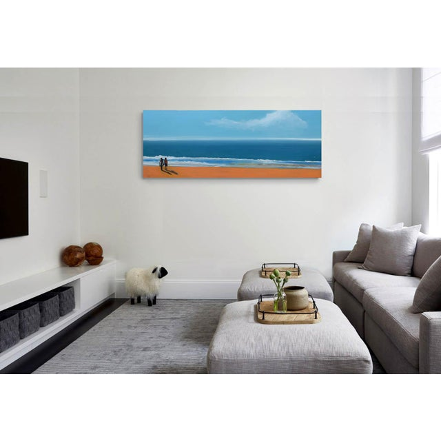 """Blue """"By the Sea"""" Geoff Greene Oil Painting For Sale - Image 8 of 10"""