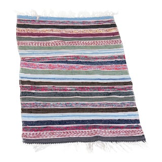 """Handwoven Reversible Vintage Swedish Rug by Scandinavian Made 37"""" x 26"""" For Sale"""