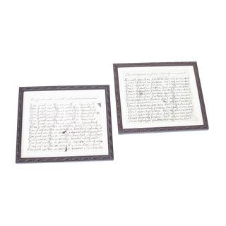 Framed Handwritten School-Themed Notes - a Pair