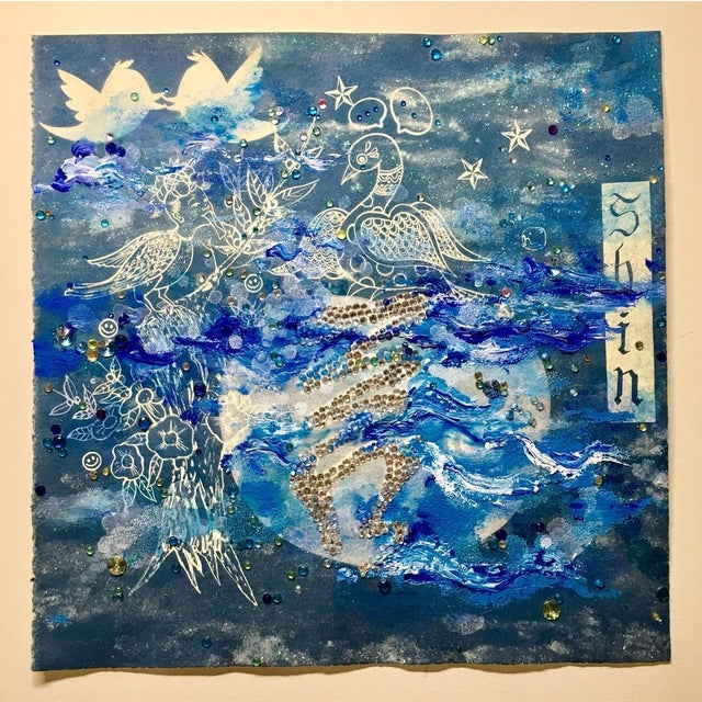Cyanotype, Ink and Acrylic rhinestones on paper In her image- and color-saturated paintings and prints, Jiha Moon mashes...