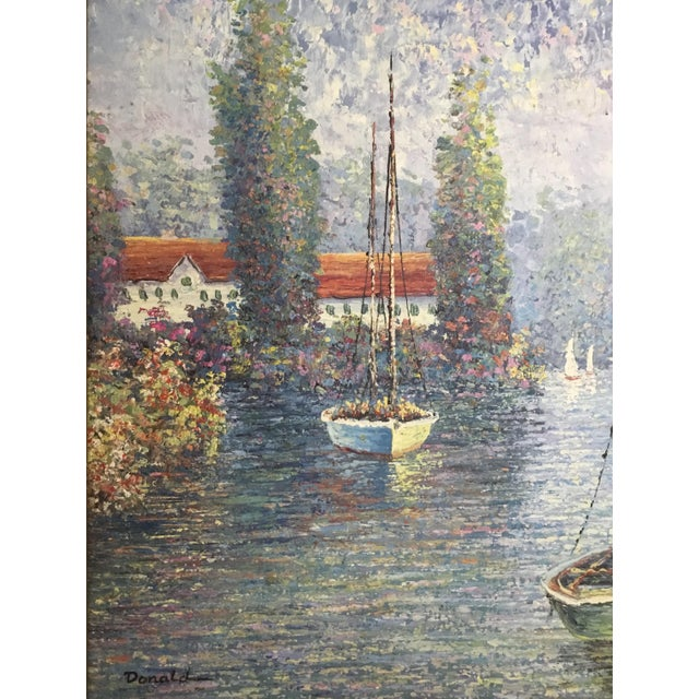 Beautiful oil painting on canvus in pointillism style features sailing boat on a pastoral lake ,hidden house in a lush...