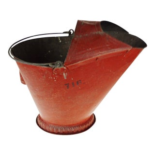 Antique Red Metal Coal Scuttle For Sale