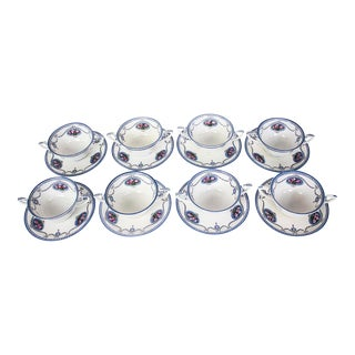 ​Royal Worcester Cameo Blue Bouillon Cup & Saucers - Set of 8 For Sale