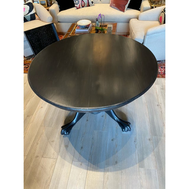 Antique Black Round Oak Claw Foot Dining Table For Sale - Image 4 of 12