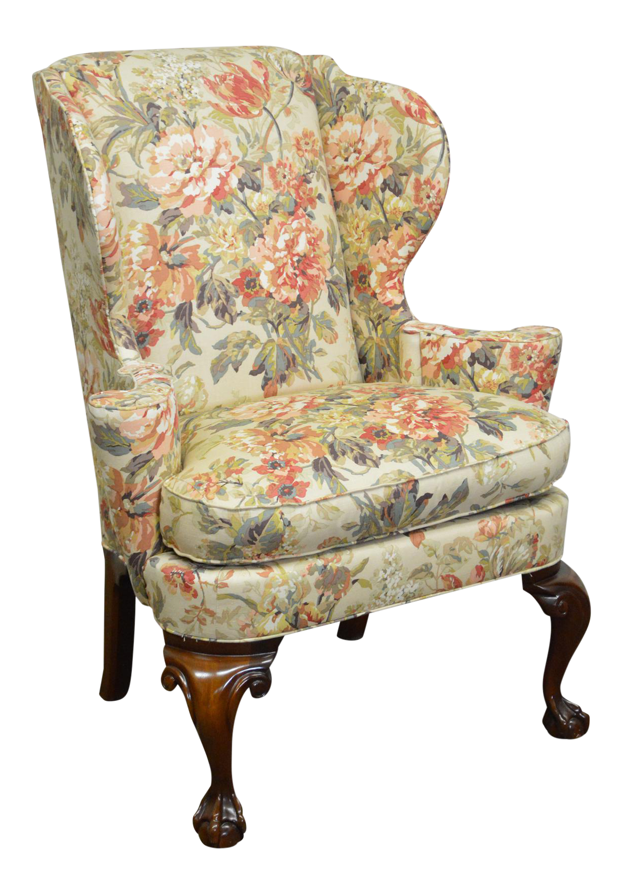 Good Hickory Chair Chippendale Style Ball U0026 Claw Foot Wing Chair