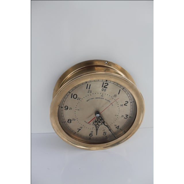 1940´s Nautical Round Solid Brass Wall Clock For Sale - Image 9 of 10