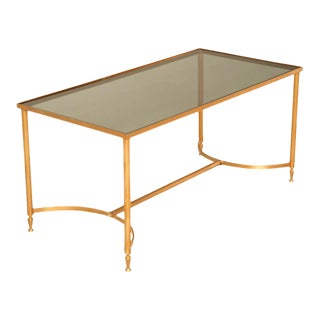Vintage French Painted Steel Cocktail Table W/Smoked Glass Top For Sale