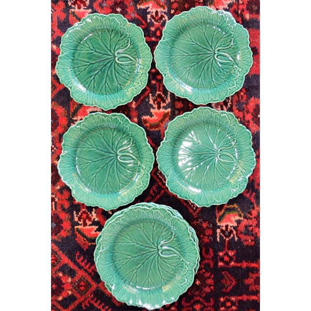 This is a beautiful set of vintage majolica Wedgwood cabbage plates. They are approximately 8 inches. They are in very...
