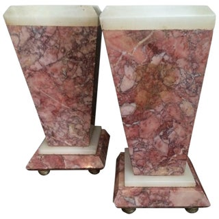 Pair of Red Marble Bookends or Decorative Urns
