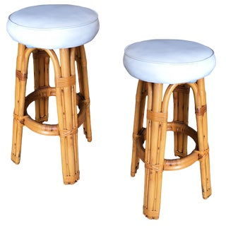 Restored Double Stand Arched Rattan Bar Stools - a Pair For Sale