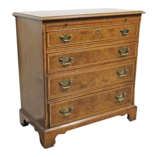 Baker Chippendale Burl Walnut Bachelor Chest For Sale