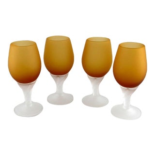 Italian Amber and Clear Frosted Hand Blown Glass Cordials - Set of 4 For Sale
