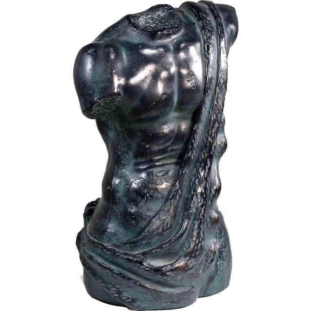 Vintage Resin Faux Bronze Classical Bust For Sale - Image 12 of 12