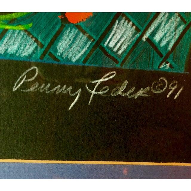 1991 Original Penny Feder Expressionist Floral Monotype Painting- Vintage/Signed For Sale - Image 11 of 13