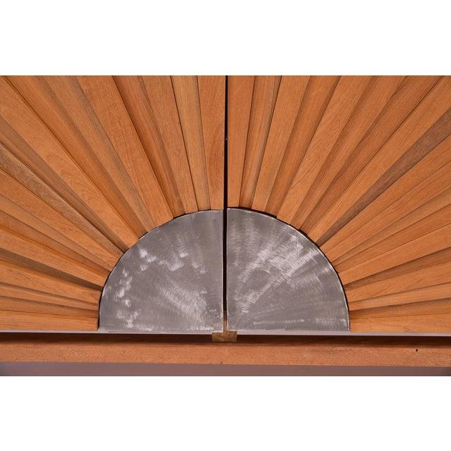 Art Deco R. Mapache Signed Sunburst Teak Sideboard For Sale - Image 3 of 8