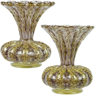 Barovier Toso Murano Purple Gold Flecks Italian Art Glass Ribbed Flower Vases - a Pair For Sale