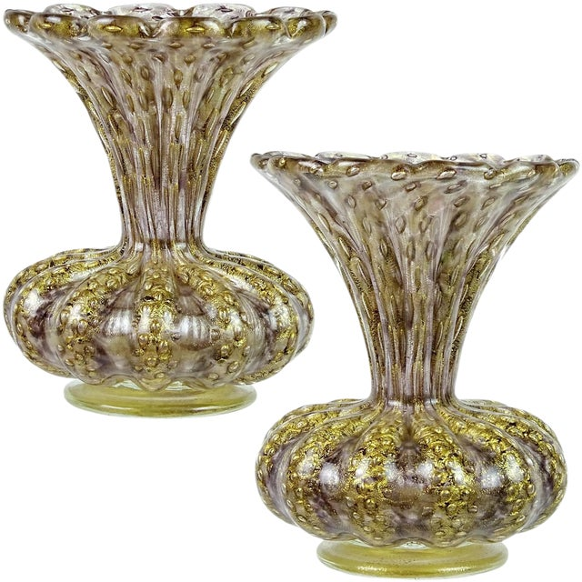 Collection Here Hand Blown Gold-flecked Murano Art Glass Bowl Pottery & Glass Bubbles High Quality And Inexpensive