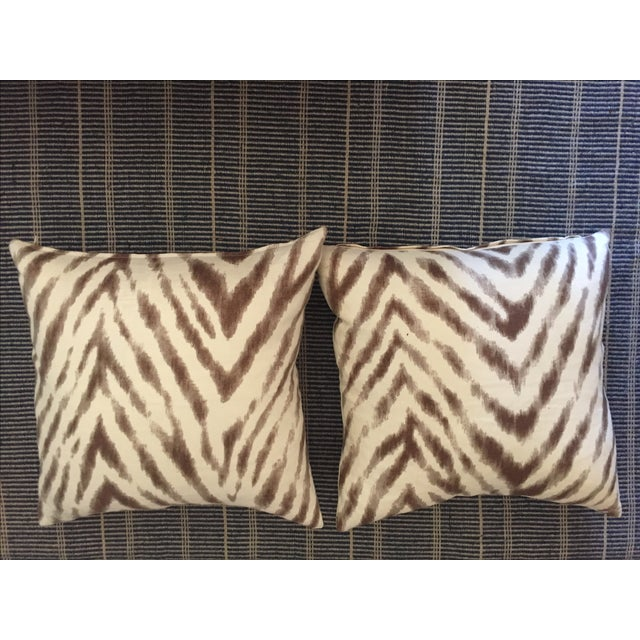 Barclay Butera Brown & White Zebra Pillows - Pair For Sale - Image 5 of 6