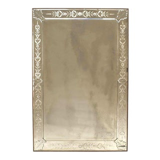 Italian Venetian Murano Etched Wall Mirrors For Sale