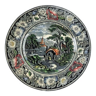 English Transferware Pastoral Scene Plate For Sale