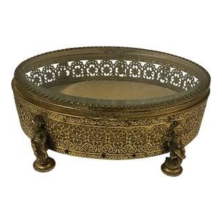 Antique Glass Ormolu Jewelry Casket Box For Sale