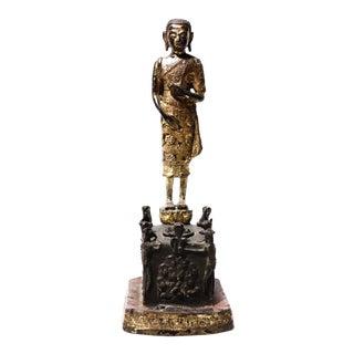 Antique Thai Gilded Copper Alloy Sculpture of Phra Malai For Sale