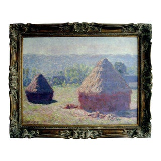 Large Giclee Print on Canvas of a Monet in Giltwood Frame For Sale