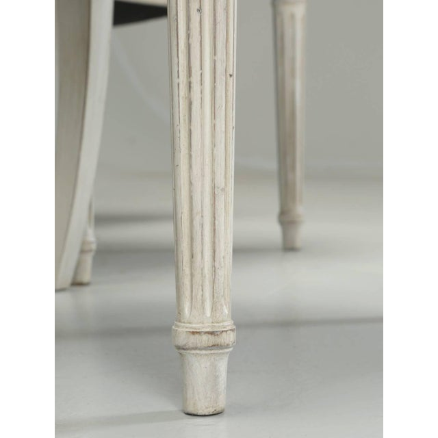 Leather French Louis XVI Style Dining Chairs in Black Leather and Distressed White Paint - Set of 6 For Sale - Image 7 of 12
