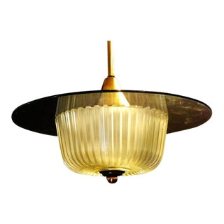 Frosted Glass and Brass Modernist Ceiling Fixture, Circa 1940 For Sale