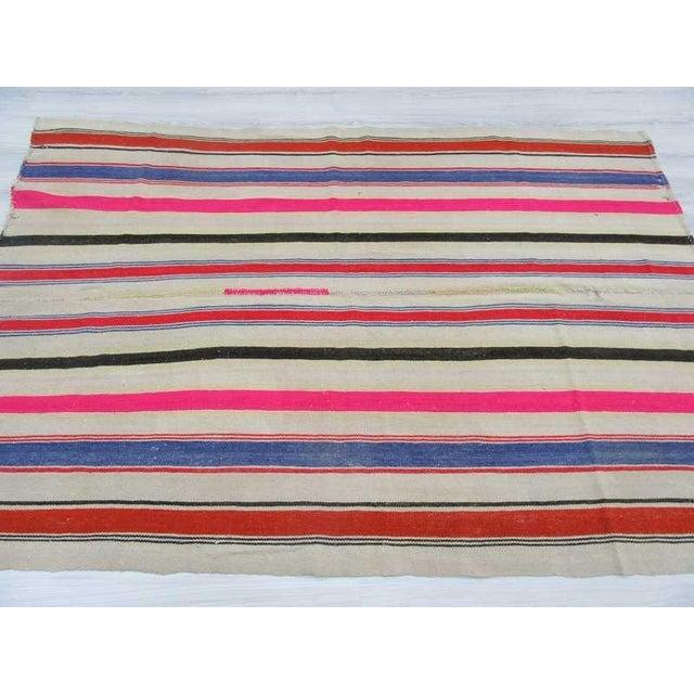 Vintage Colorful Striped Turkish Kilim Rug - 5′4″ × 7′8″ - Image 4 of 6