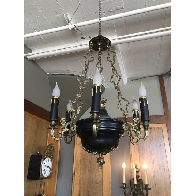 1810 Empire Regency Neoclassical 6 Light Converted Chandelier For Sale - Image 13 of 13