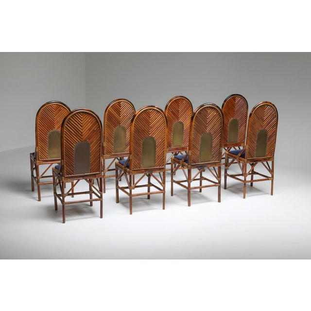 Mid-Century Modern 1970s Vivai Del Sud Dining Chairs in Bamboo, Brass & Blue Velvet - Set of 8 For Sale - Image 3 of 13