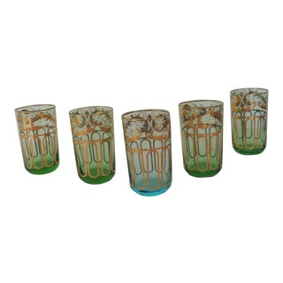 Set of '5' Moroccan Tea Glasses With Gold Details For Sale