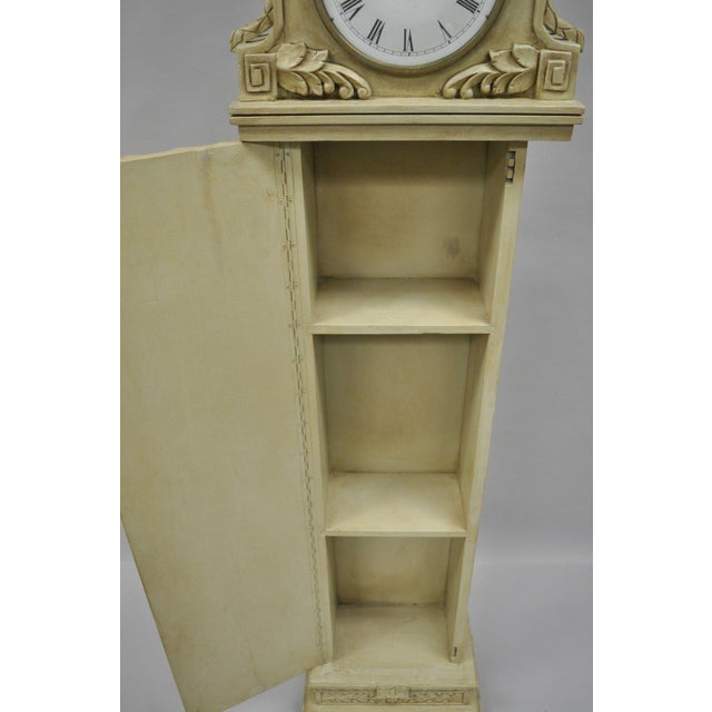 White French Regency Empire Style Cream Painted Grandfather Case Standing Clock For Sale - Image 8 of 13