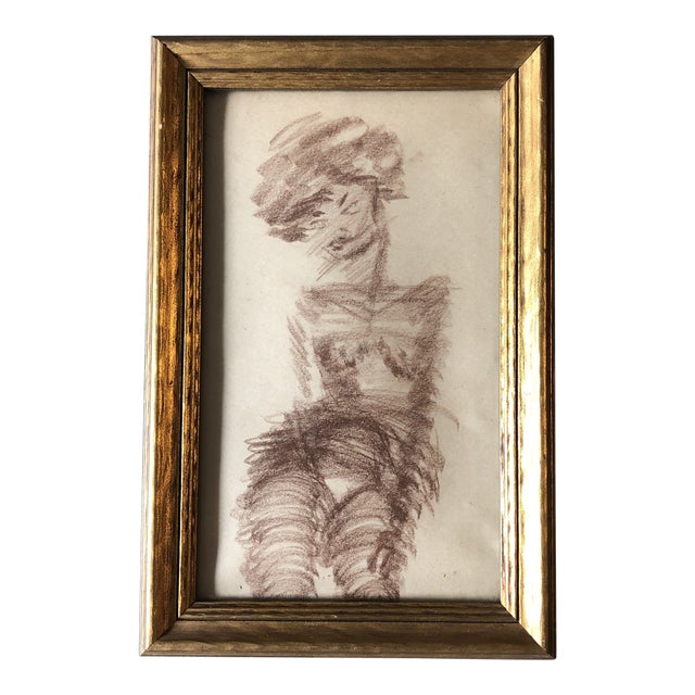 Original Vintage Female Nude Abstract Sepia Drawing Framed For Sale