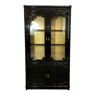 1970s Vintage Black Lacquer Bamboo China Cabinet For Sale