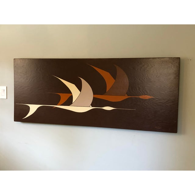 This incredible large midcentury horizontal artwork of stylized flying geese was painted on board in shades of cream and...