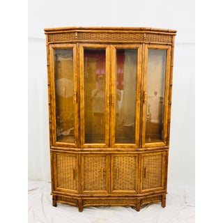 Vtg Faux Bamboo & Wicker Hutch Preview